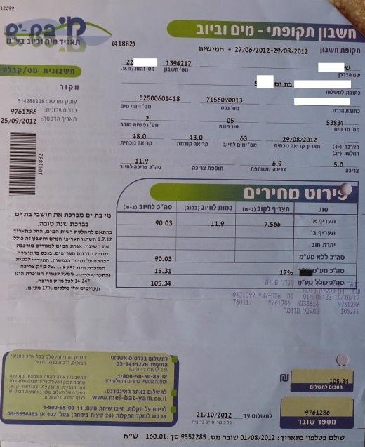 חיוב צריכה פרטית מוקטנת וחיוב צריכה משותפת מוגדלת שלא לצורך - יולי אוגוסט 2012
