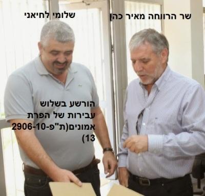 שר הרווחה מאיר כהן ושלומי לחיאני (הורשע בשלוש עבירות של מרמה והפרת אמונים)