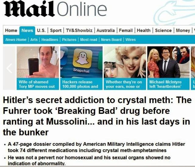 דיילי ניוז - היטלר היה מכור לסמים פסיכיאטריים