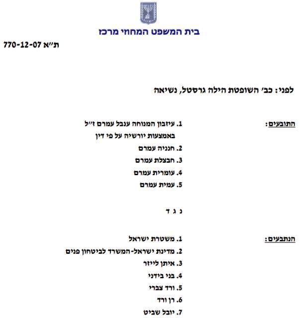 פסק דין השופטת הילה גרסטל בעניין מחדלי משטרת ישראל פתח תקוה על הרצחה של ענבל עמרם