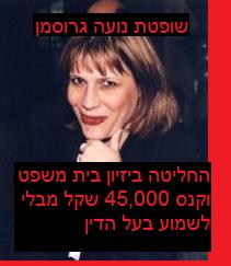 שופטת נועה גרוסמן - נתנה החלטתה הסופית לביזיון פקודת בזיון בית המשפט טרם הגשת סיכומי בעל הדין