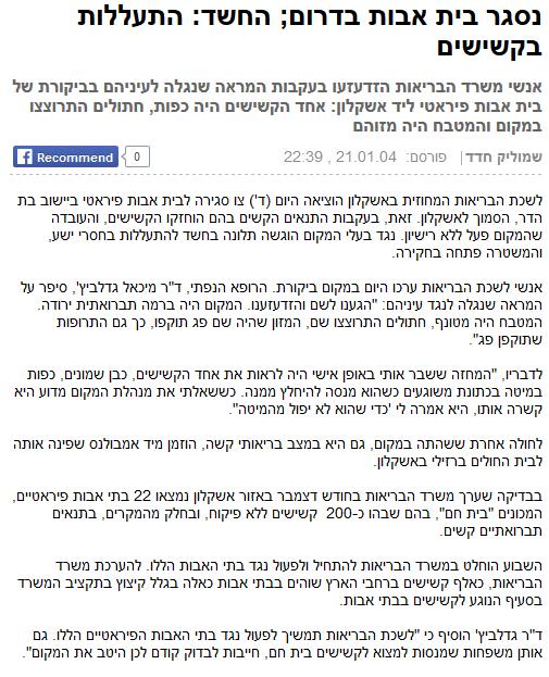 נסגר בית אבות בדרום; החשד: התעללות בקשישים , 21.01.04 , שמוליק חדד , ynet